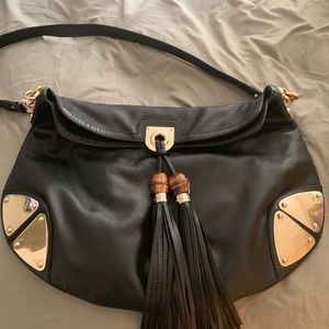 Large Gucci hobo shoulder bag gold meta corners